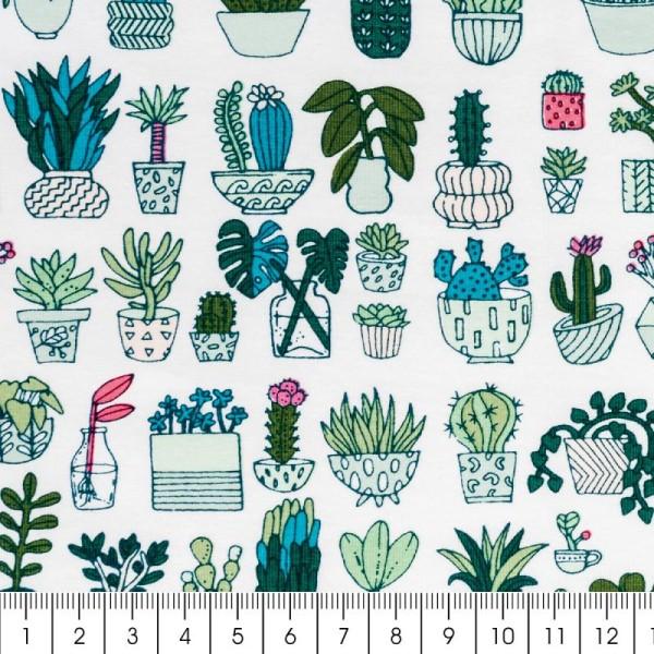 Coupon de tissu Toile jersey Made by me - Cactus détail fluo - Fond blanc - 70 x 100 cm - Photo n°2