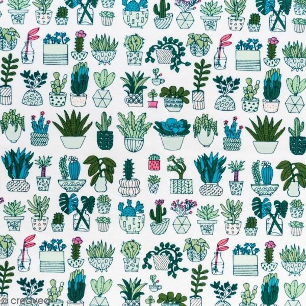 Coupon de tissu Toile jersey Made by me - Cactus détail fluo - Fond blanc - 70 x 100 cm - Photo n°1