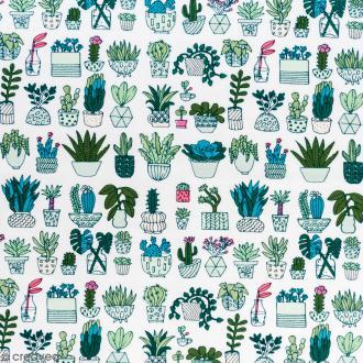 Coupon de tissu Toile jersey Made by me - Cactus détail fluo - Fond blanc - 70 x 100 cm