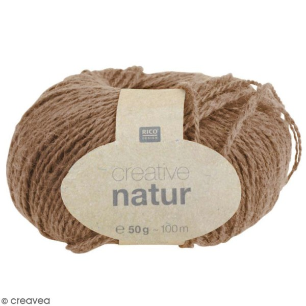Laine Rico Design - Creative Natur 50 gr - Brun clair - 100% chanvre - Photo n°1