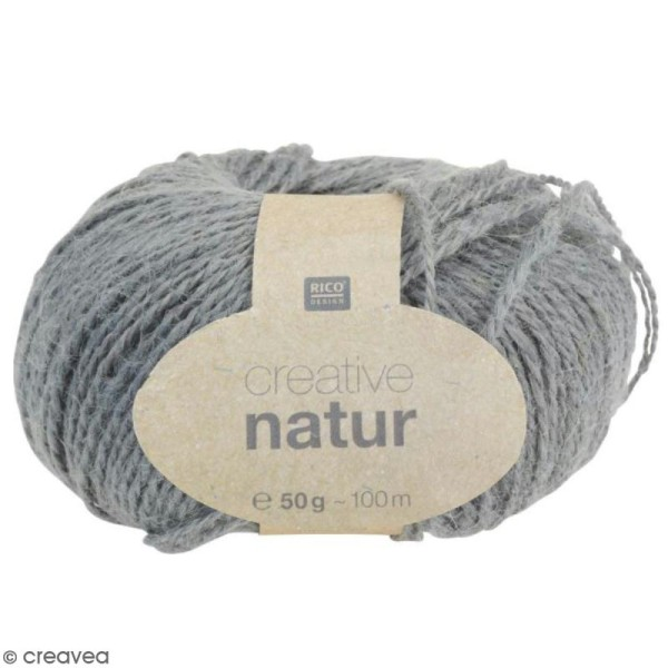 Laine Rico Design - Creative Natur 50 gr - Gris - 100% chanvre - Photo n°1