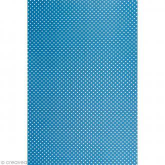 Daily like Bleu à pois - Tissu autocollant A4