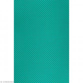 Daily like Bleu turquoise à pois - Tissu autocollant A4