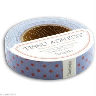 Masking tape tissu - Bleu à pois rouges Daily Like x 5 m