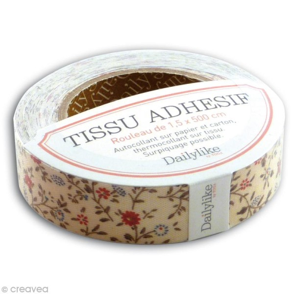 Masking tape tissu - Ivoire / fleurettes Daily Like x 5 m - Photo n°1