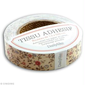 Masking tape tissu - Ivoire / fleurettes Daily Like x 5 m
