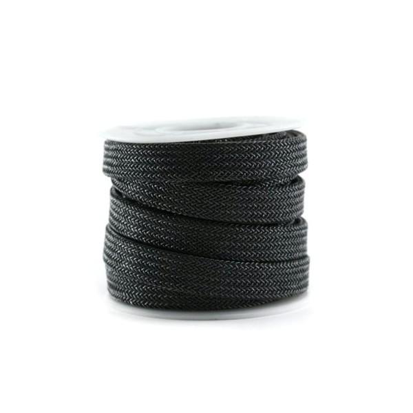 Cordon métallisé plat 10 mm gris foncé x 10 cm - Photo n°1