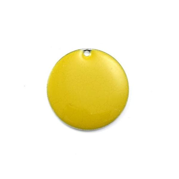 Sequin rond métal émaillé 12 mm jaune - Photo n°1
