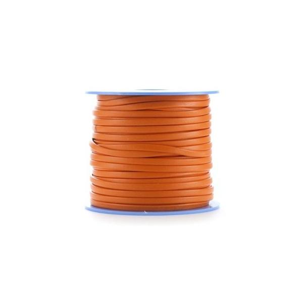 Cuir plat  (70%) 3 mm orange x10 cm - Photo n°1