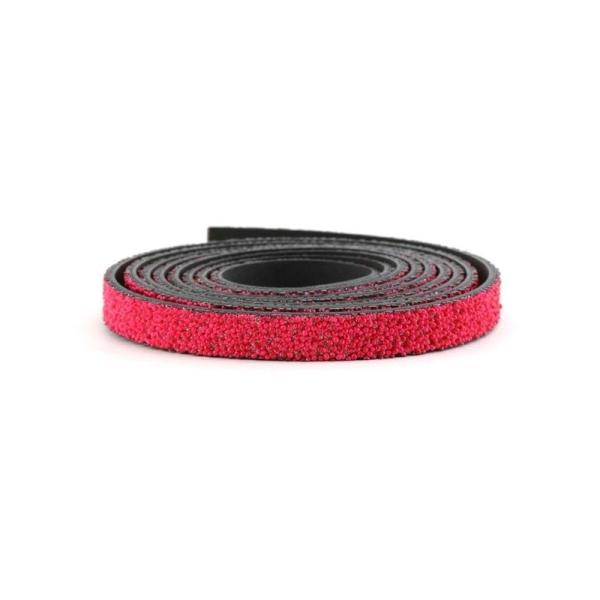 Cuir caviar 10 mm fuchsia x10 cm - Photo n°1