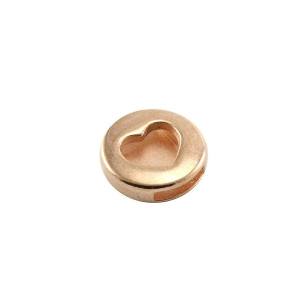 Pastille coeur passant 10 mm métal 18 mm rose gold - Photo n°1