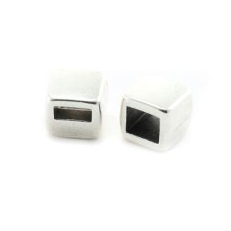 Passant rectangle métal 7x8x7 mm argenté