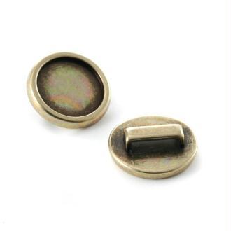 Passant pour lacet 19 x 27 mm rond flat back 15 mm bronze