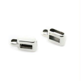 Passant rectangle porte-breloque 5 mm argenté