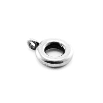 Passant rond porte-breloque argenté 11x3,5 mm