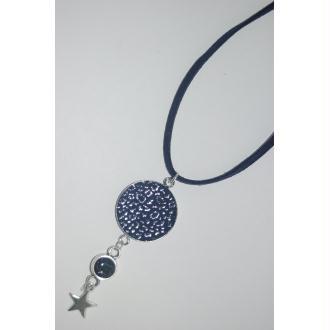 Collier cuir et Swarovski bleu foncé