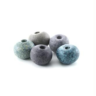 Perles céramique ronde camaïeu gris mat x10