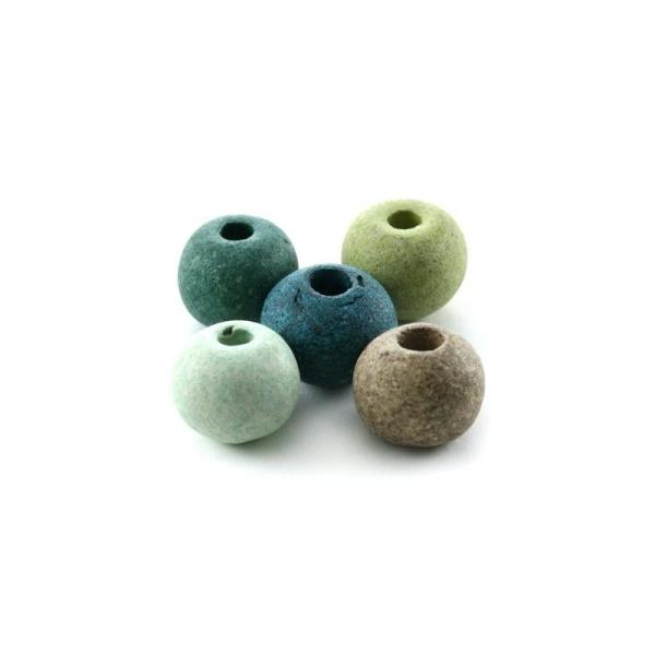 Perles céramique ronde camaïeu vert mat x10 - Photo n°1