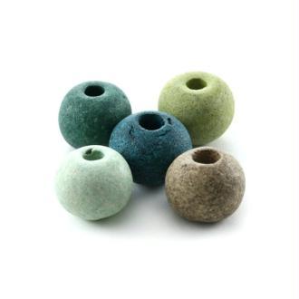 Perles céramique ronde camaïeu vert mat x10