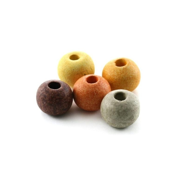 Perles céramique ronde camaïeu terre mat x10 - Photo n°1