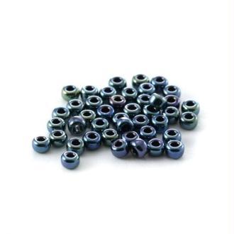 10 G (+/- 875 perles) rocaille 11/0 Bleu Foncé Métallique n°456