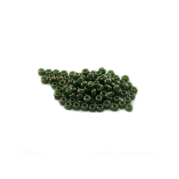 10 G (+/- 875 perles) rocaille 11/0 kaki lustré n°2539 - Photo n°1