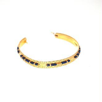 Bracelet jonc plaqué or et délica miyuki bleu marine