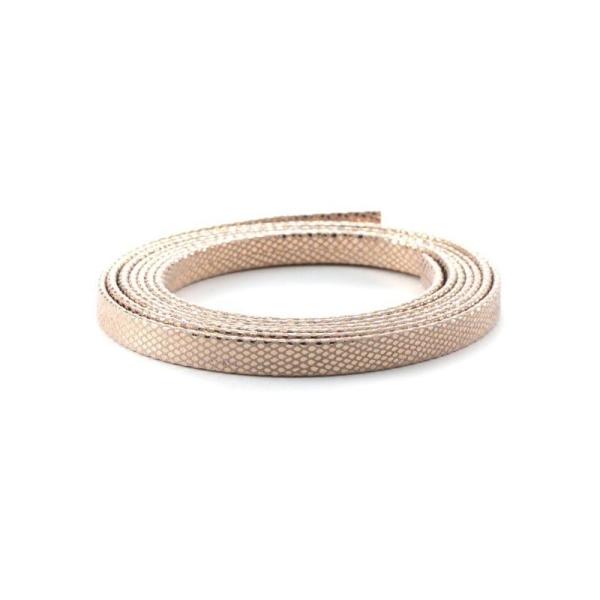 Cuir 20 mm serpent métal renforcé rose gold x10 cm - Photo n°1
