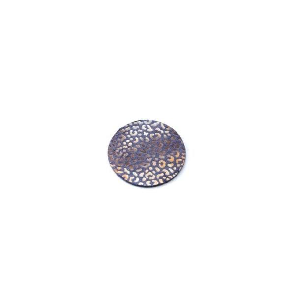 Rond de cuir léopard bleu 30 mm - Photo n°1