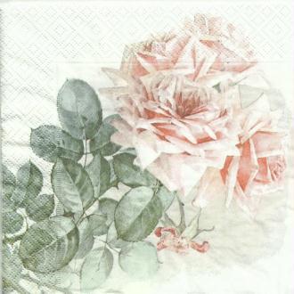 4 serviettes en papier découpage collage 33 cm VINTAGE LES ROSES 280