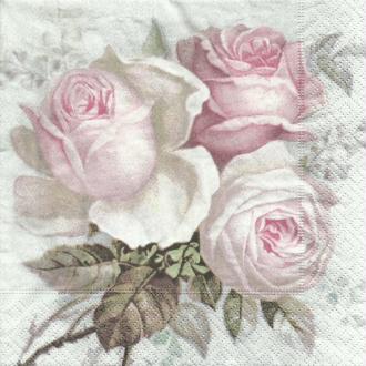 4 serviettes en papier découpage collage 33 cm VINTAGE LES ROSES 733