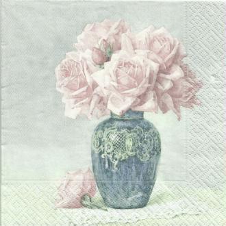 4 serviettes en papier découpage collage 33 cm VINTAGE VASE DE ROSES 266