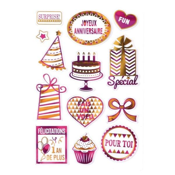 Stickers silicone transparent métallisés motif Célébration, 13 pièces de 1 à 6 cm, pour scrapbooking - Photo n°1
