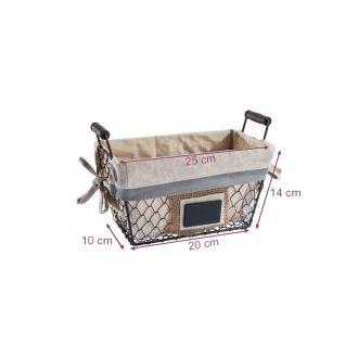 Panier en Métal doublé de Tissu avec étiquette en Ardoise, dim. 10 x 20 x 14cm, déco champêtre