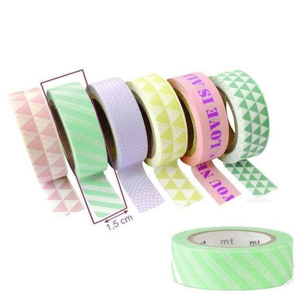 Ruban papier adhésif Rayures Vertes Pastel pour Scrap, largeur 15mmx10 m, Masking Tape - Photo n°1