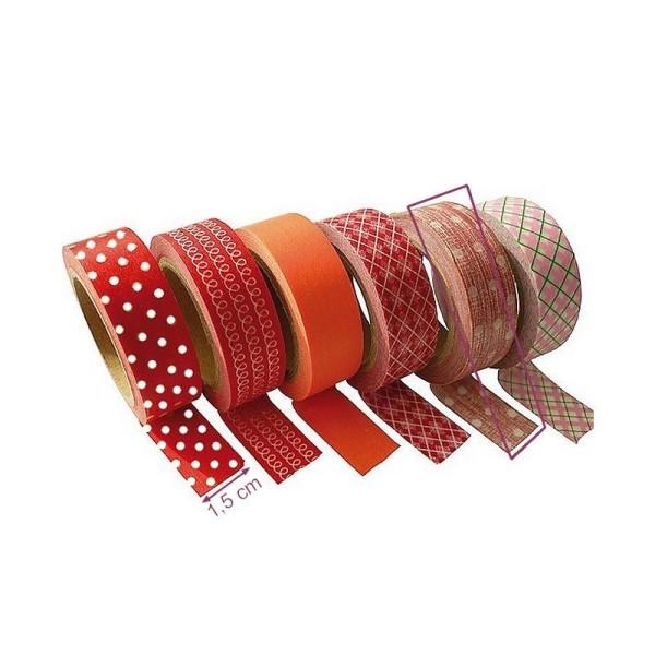Ruban papier adhésif Ronds Rouge pour Scrap, largeur 15mmx10 m, Masking Tape - Photo n°1