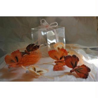 Boîte de 6 papillons Ton roux rouille pêche plumes naturelles