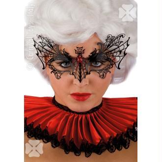 Masque loup en filigrane noir et strass rouge