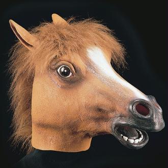 Masque de cheval souple en latex avec crinière