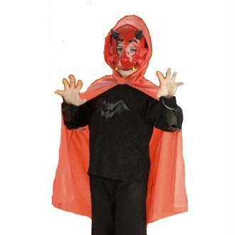 Demi-masque diablotin rouge et cape rouge