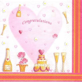 4 Serviettes en papier Cœur Amour Champagne Format Lunch