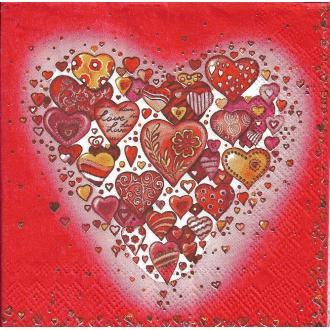 4 Serviettes en papier Cœur Amour Format Cocktail