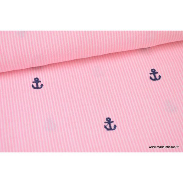 ancre rouge tissu jersey viscose marin 50x140 cm blanc /& bleu