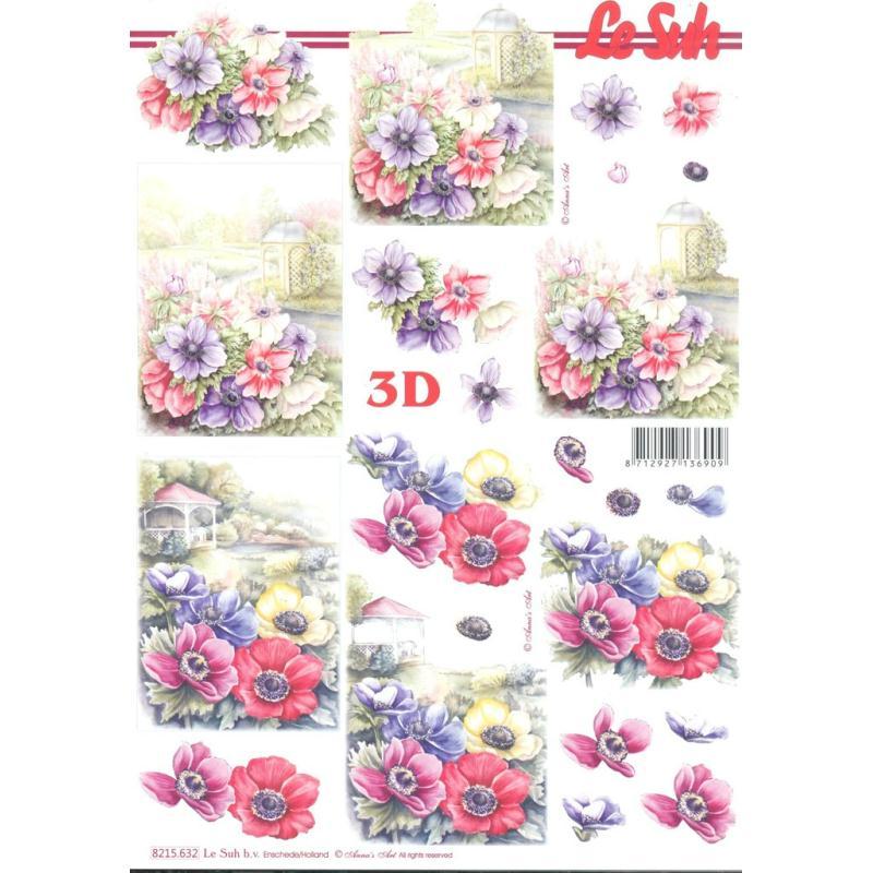 Feuille 3D à découper A4 Fleurs Anémones - Photo n°1