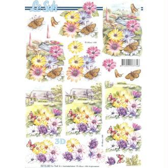 Feuille 3D à découper A4 Fleurs & Papillons