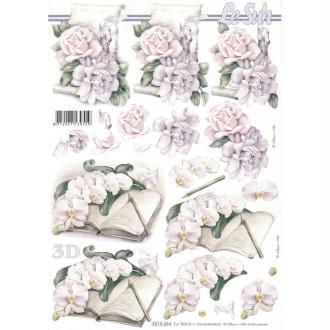 Feuille 3D à découper A4 Condoléances Roses Orchidées
