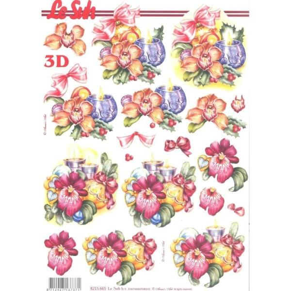 Feuille 3D à découper A4 Bouquet de Noël - Photo n°1