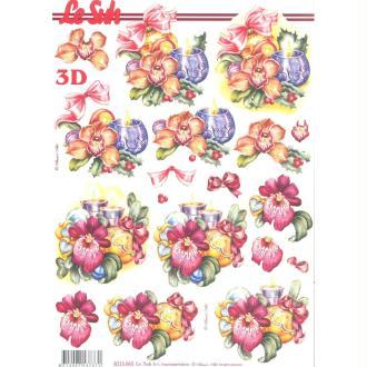 Feuille 3D à découper A4 Bouquet de Noël