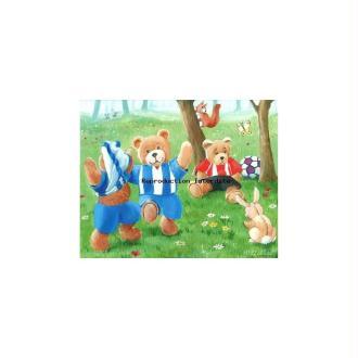 Image 3D - Oursons au foot - 24 x 30 cm