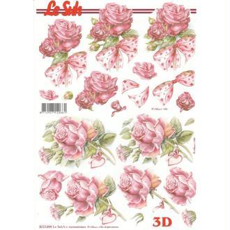 Feuille 3D à découper A4 Fleurs Roses